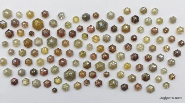 Hexagonal Shape antique cut diamonds