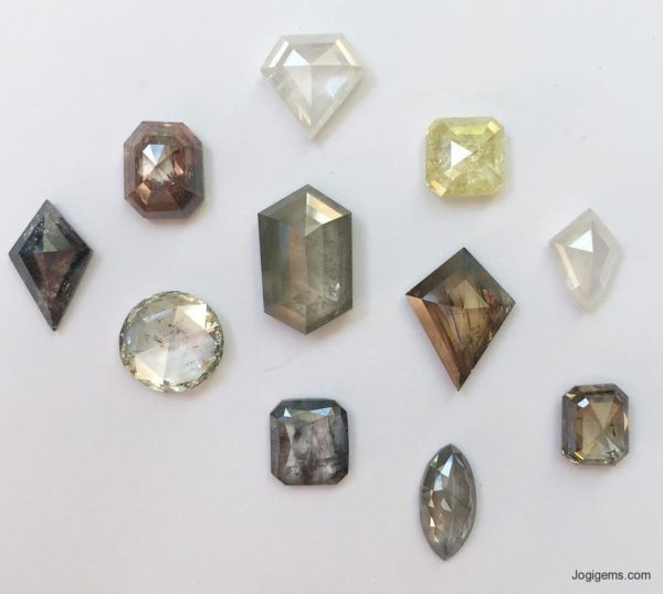 mix color antique cut diamonds