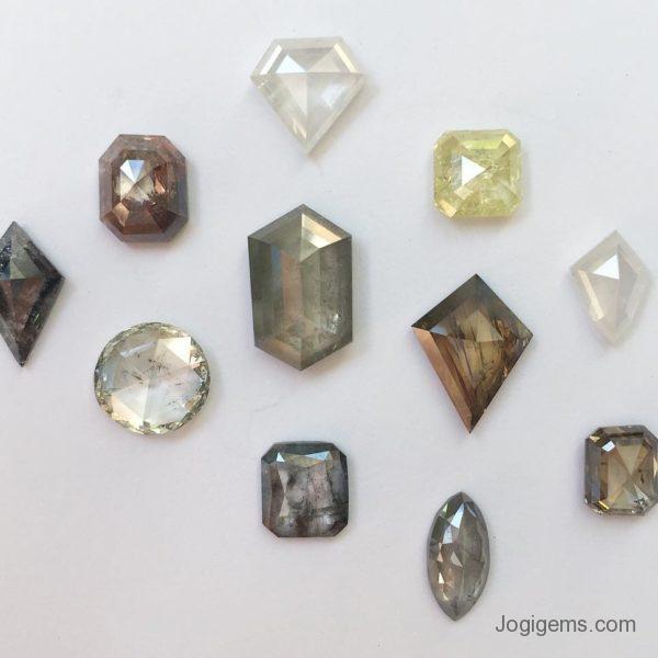 mix color antique cut diamonds