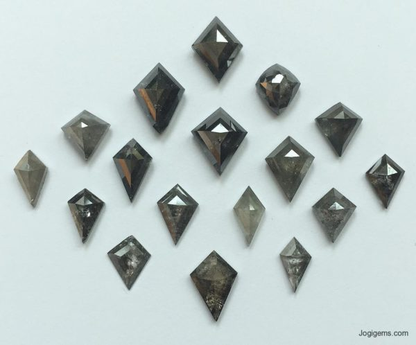 Kite shape antique cut diamonds