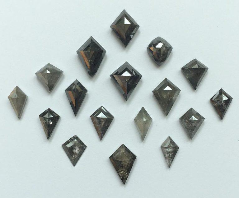 Kite shape antique cut diamonds