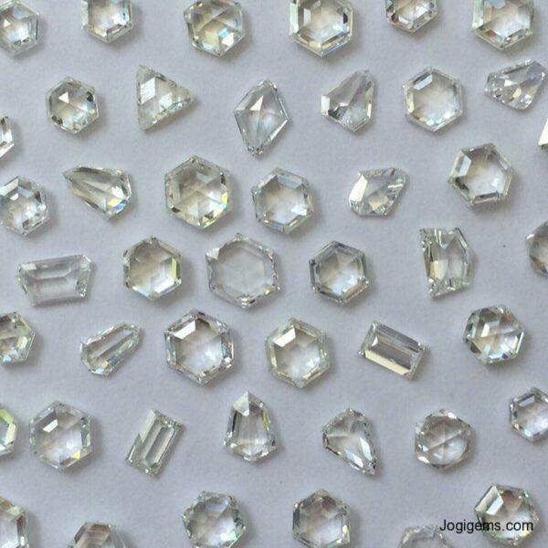 Moon shape antique cut diamonds