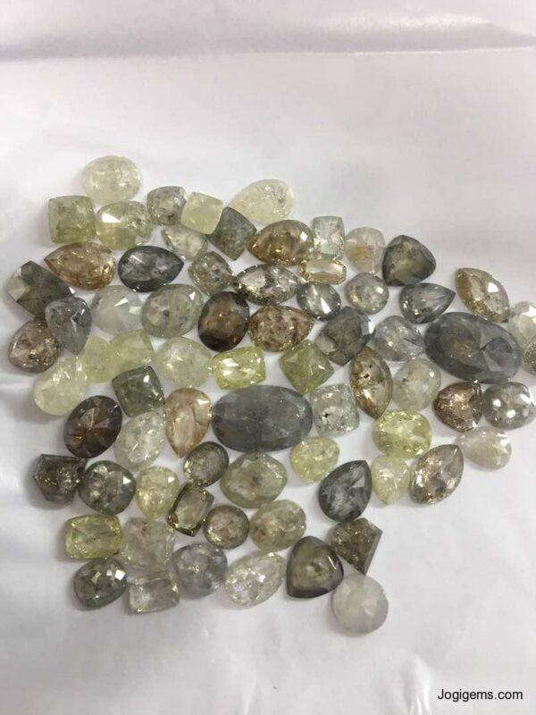 natural transparent Icy fancy shape Rustic Diamonds