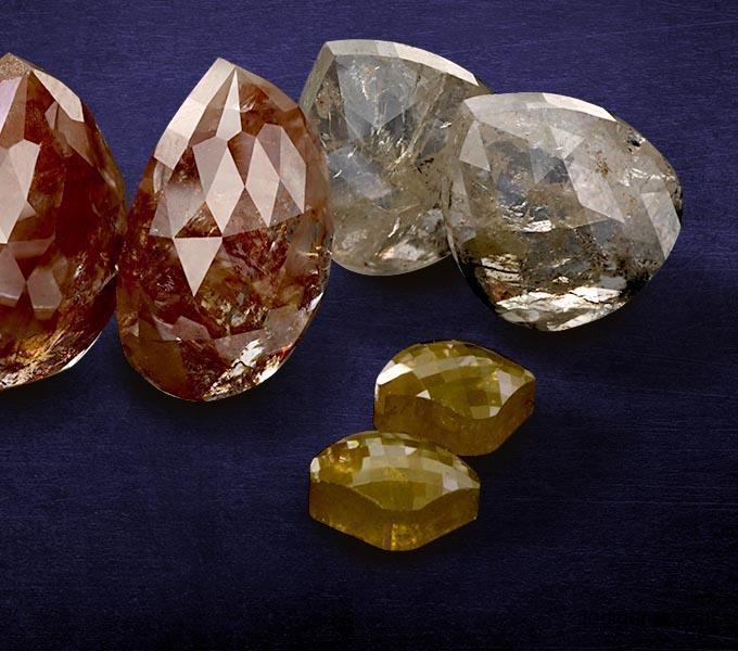 natural Pear shape Rustic diamonds
