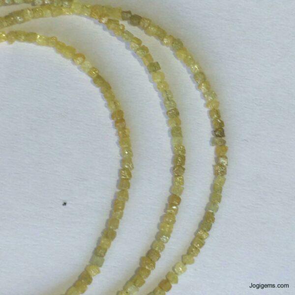 Yellow Rough Diamond Beads Necklace