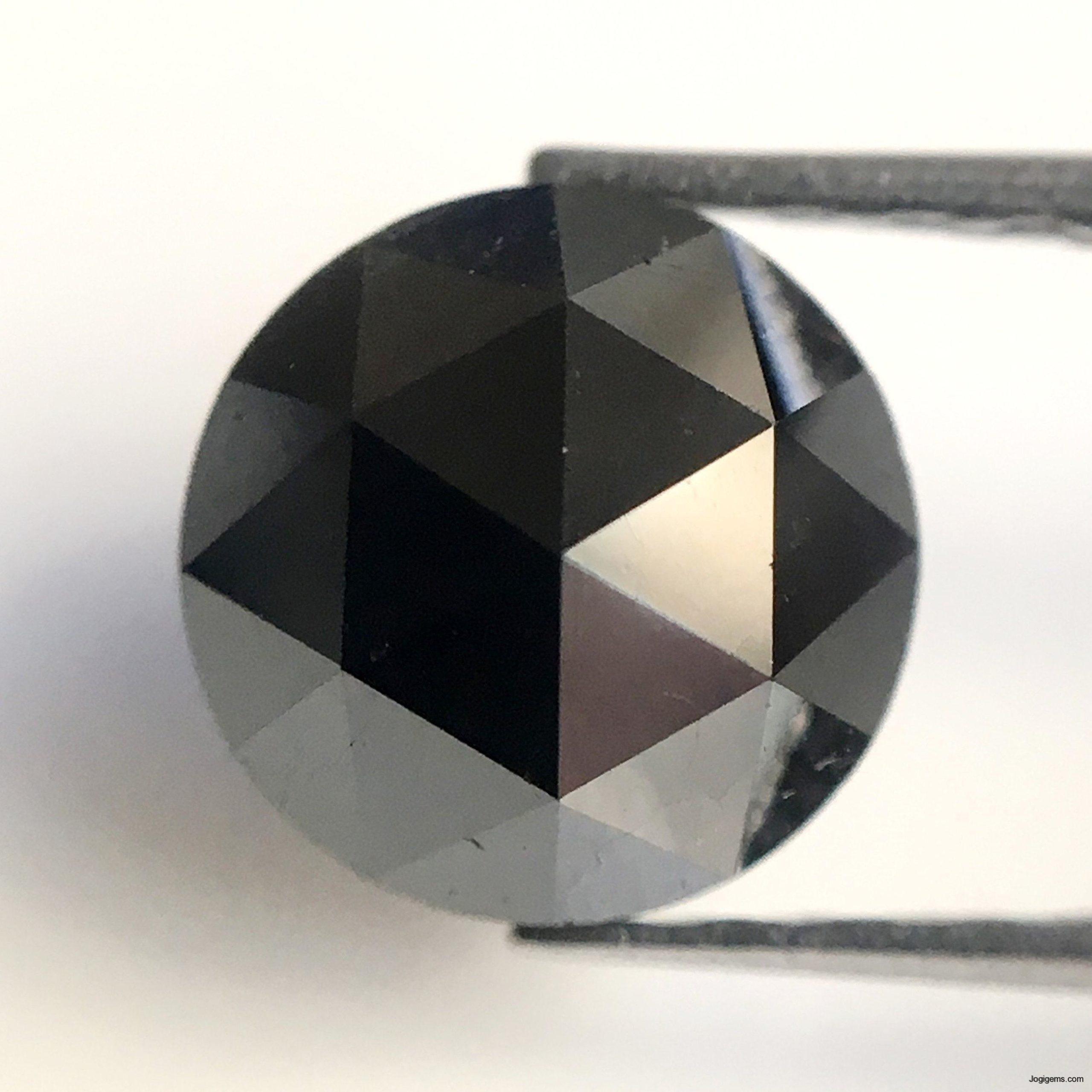 Natural Black Heart Cut Diamond 0.98 Carat Natural Black Diamond Heart Shaped Rose Cut Natural Loose Diamond