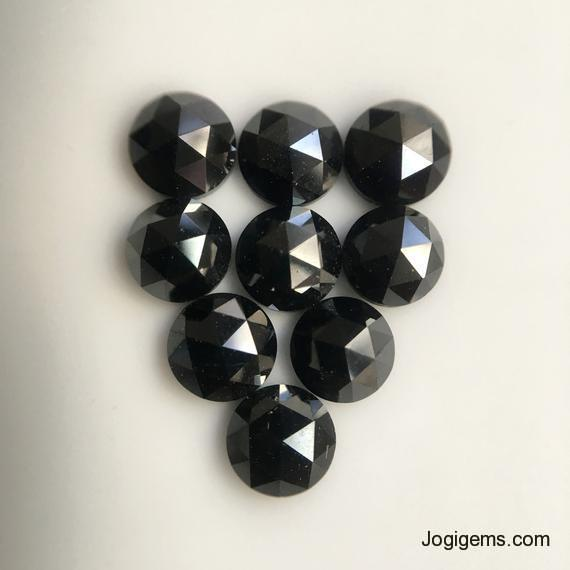 7mm black rose cut diamond