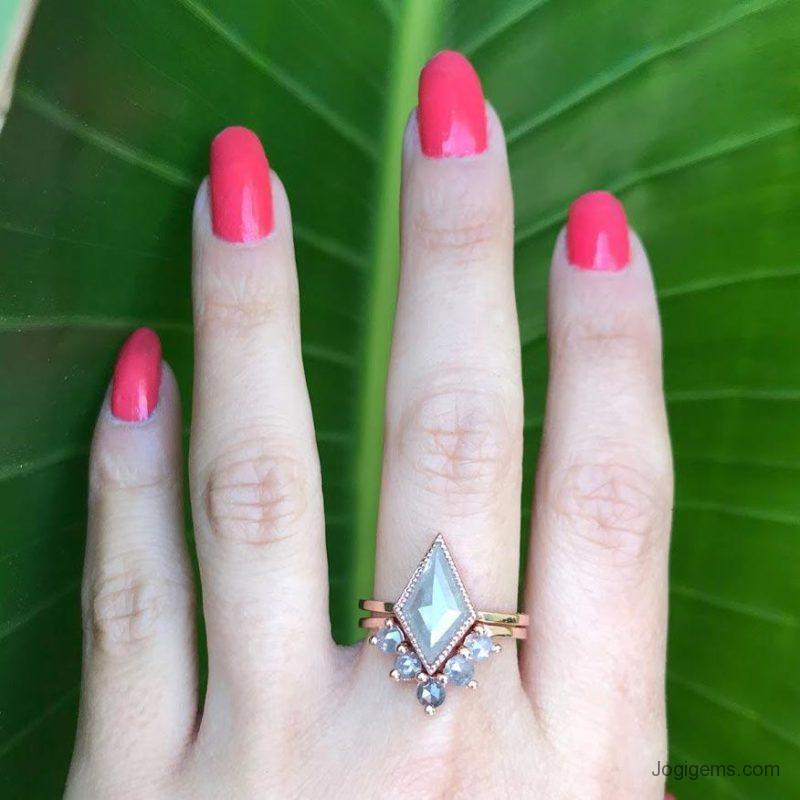Kite Shape Gray Diamond Ring
