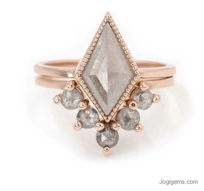 Rose Gold Gray Diamond Ring - Kite Diamond