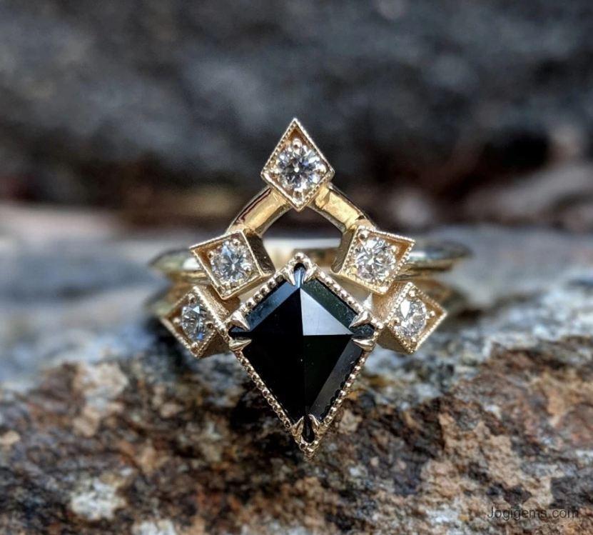 Black Diamond Kite Ring