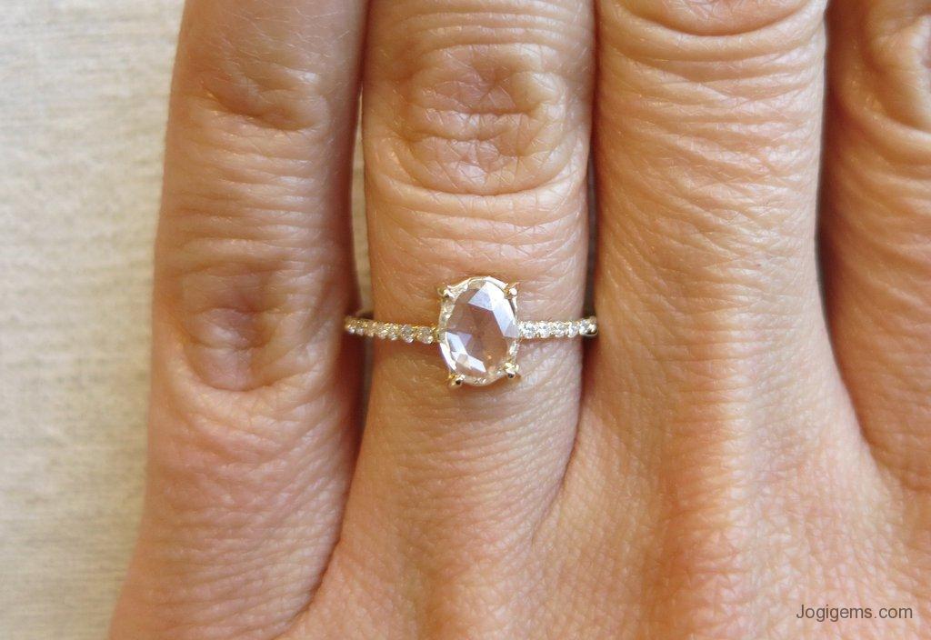 Oval Rose Cut Diamond Ring