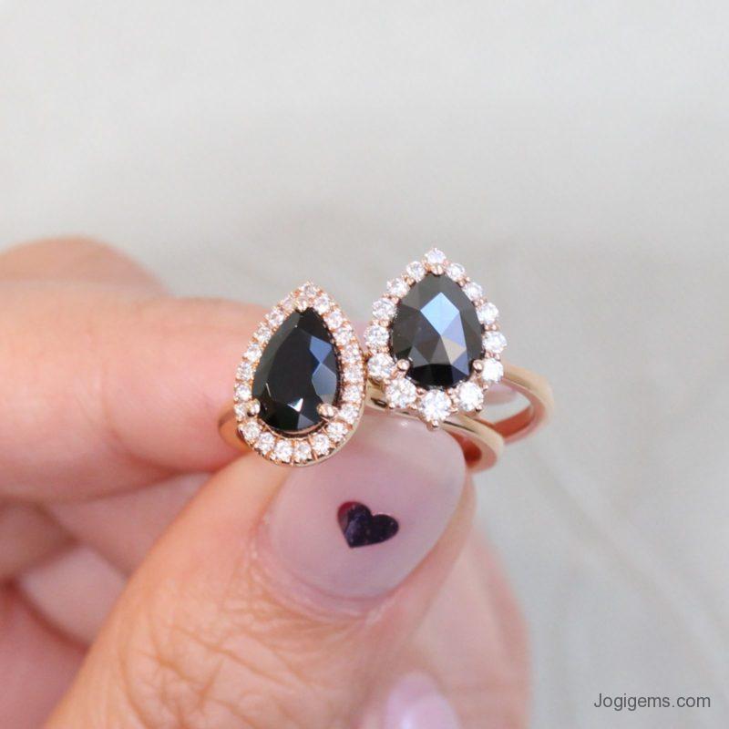 Pear Shaped Rose Cut Black Diamond Ring