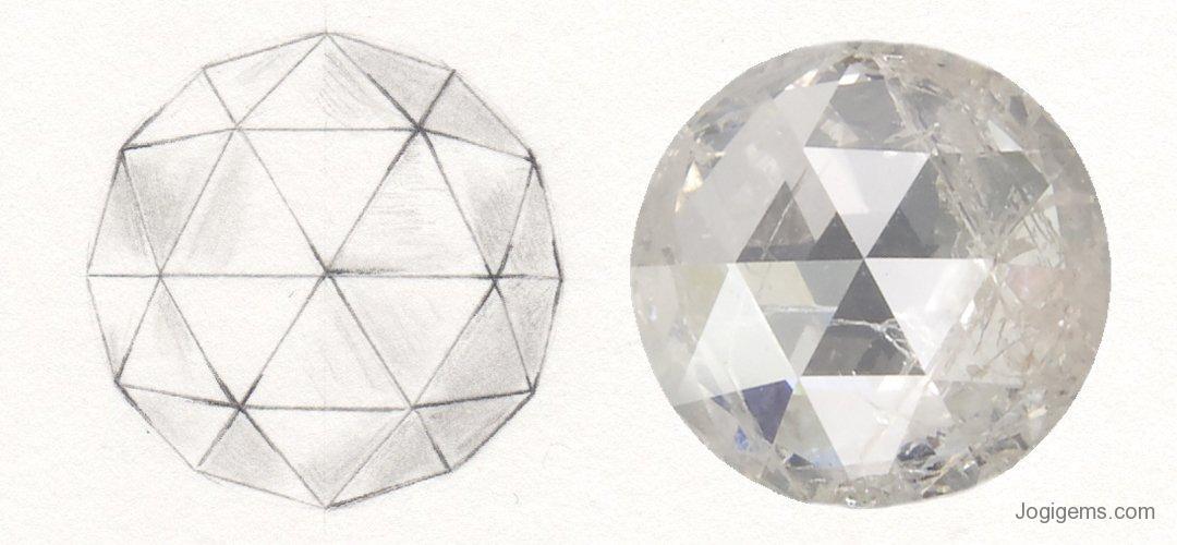 Rose cut diamond history. Diagram