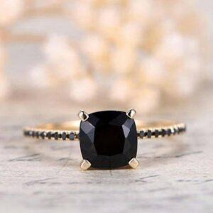 Cushion Cut Black Diamond Ring