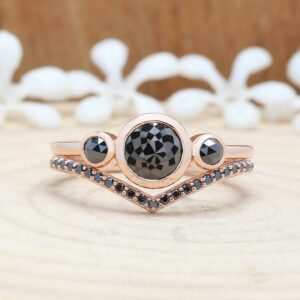 rose cut black diamond ring with band