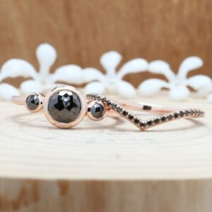 rose cut black diamond ring with rose gold band