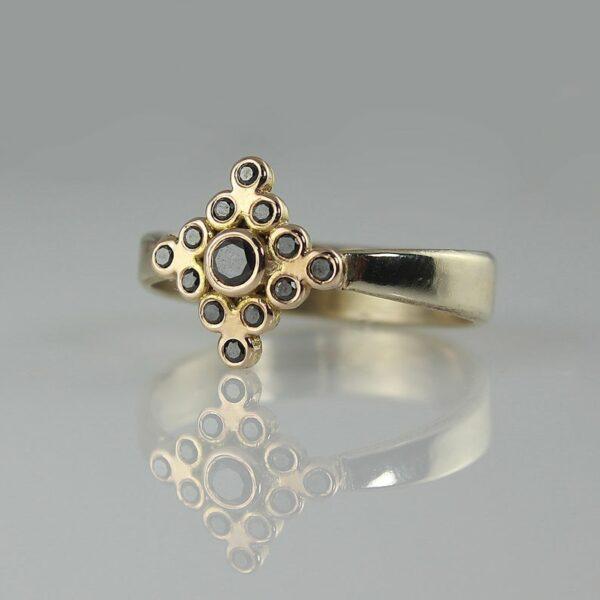 buy Black diamond yellow gold ring