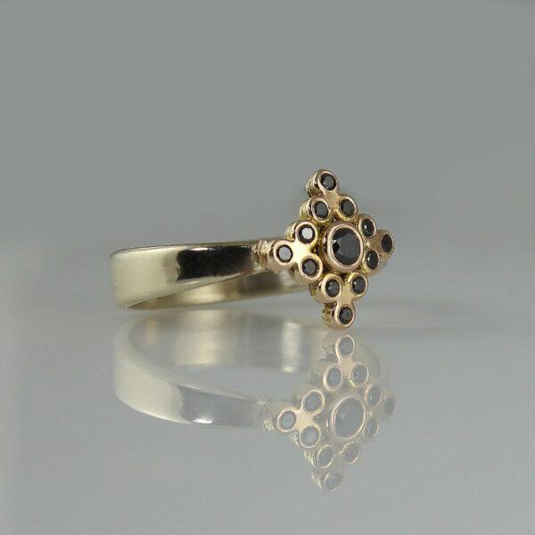 Charismatic Black diamond yellow gold ring