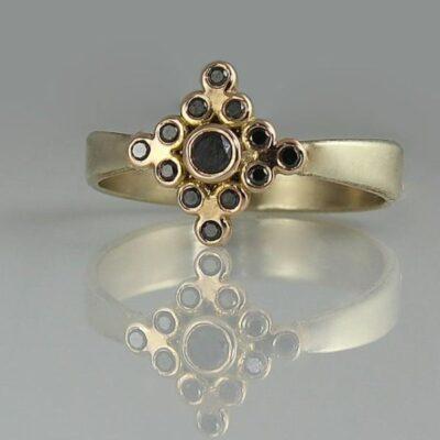 Black diamond yellow gold ring