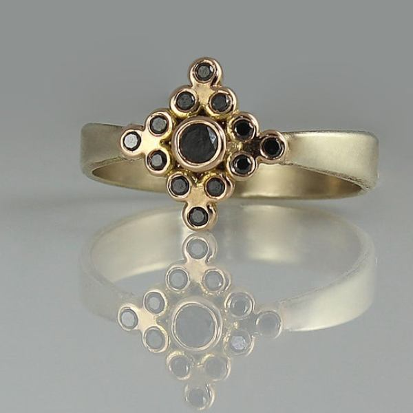 Black diamond yellow gold ring for sale