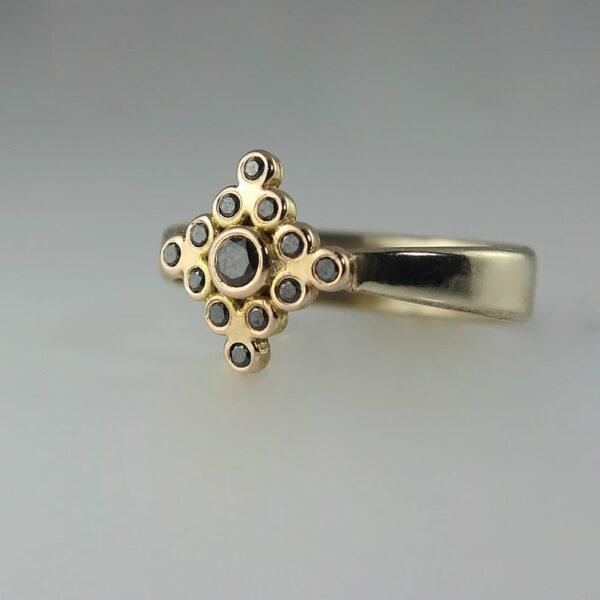 shop Black diamond yellow gold ring