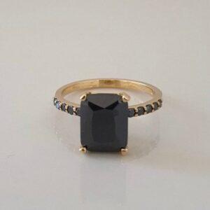 emerald cut black diamond ring in rose gold