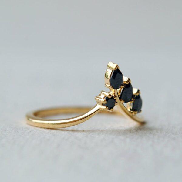 black diamond leaf ring for her