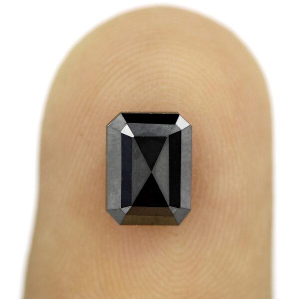 1.30 ct emerald cut black diamond