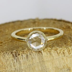 bezel shape rose cut diamond ring