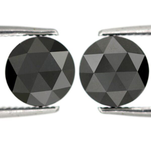 rose cut black diamonds pair