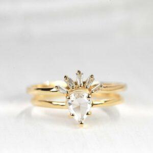 Pear shaped rose cut diamond ring