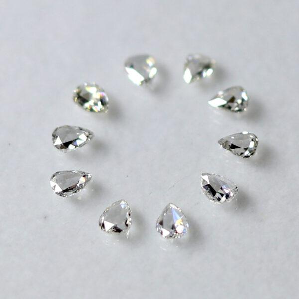 pear shape rose cut diamonds in lot