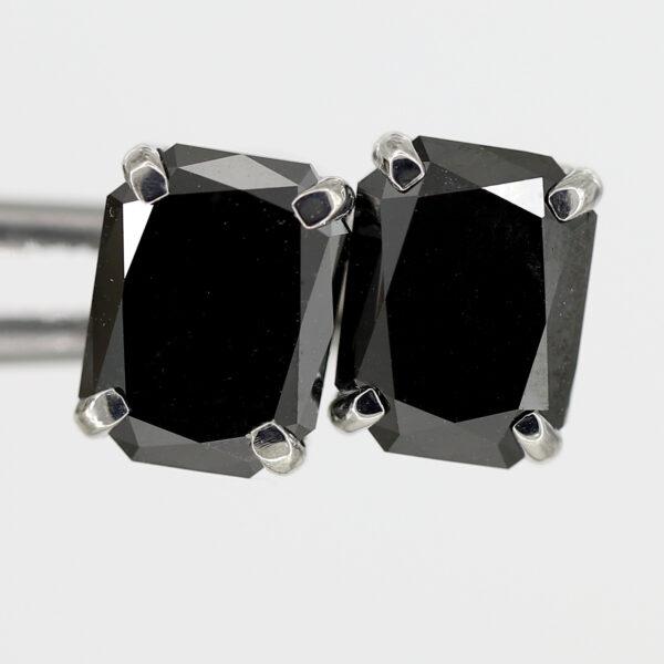 radiant cut black diamond earrings