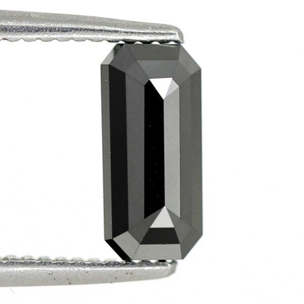 Elongated emerald shape black diamond