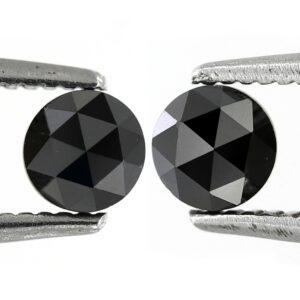 pair rose cut black diamonds