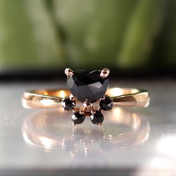 black diamond paw print ring
