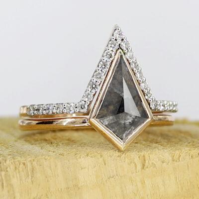 salt and pepper kite diamond ring