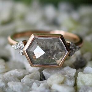 hexagon salt and pepper diamond ring