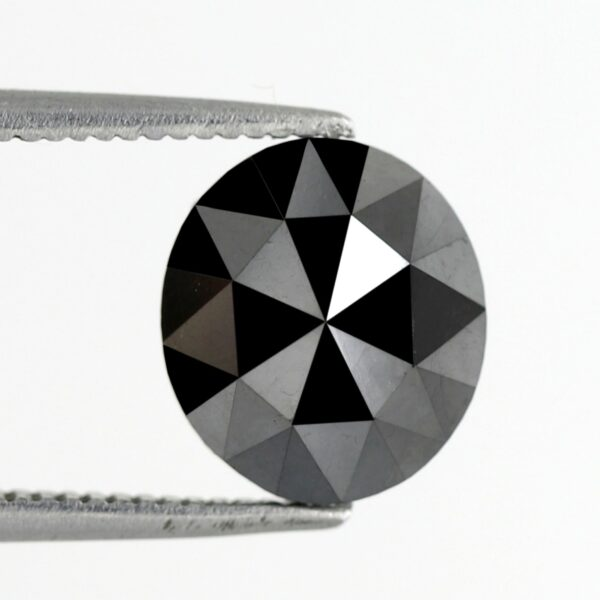 Rose Cut Oval Shape Black Diamond