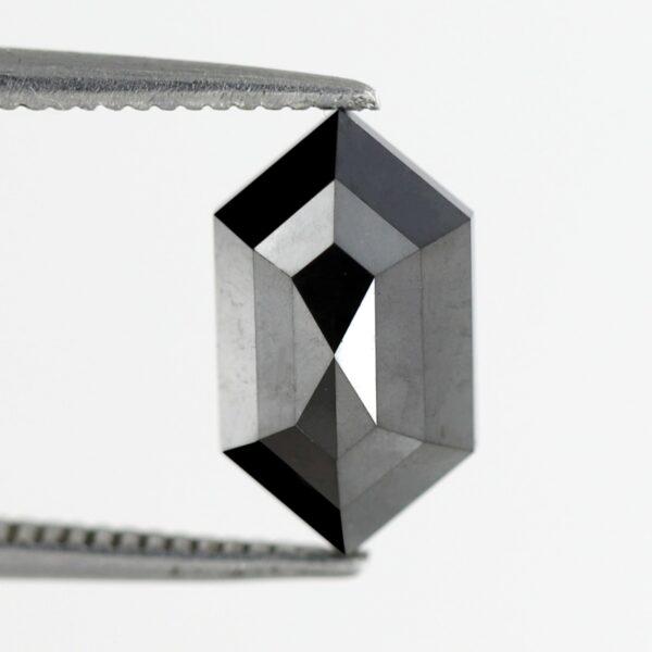 2 carat Elongated hexagon black diamond