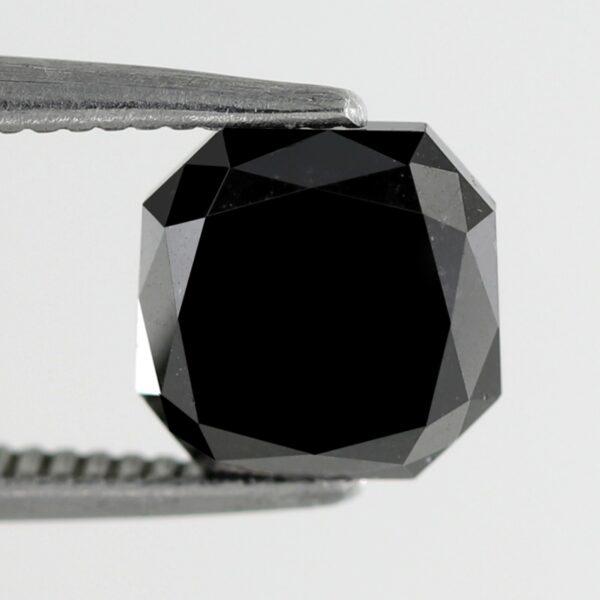 2.48 Carat Asscher Shape Black Diamond