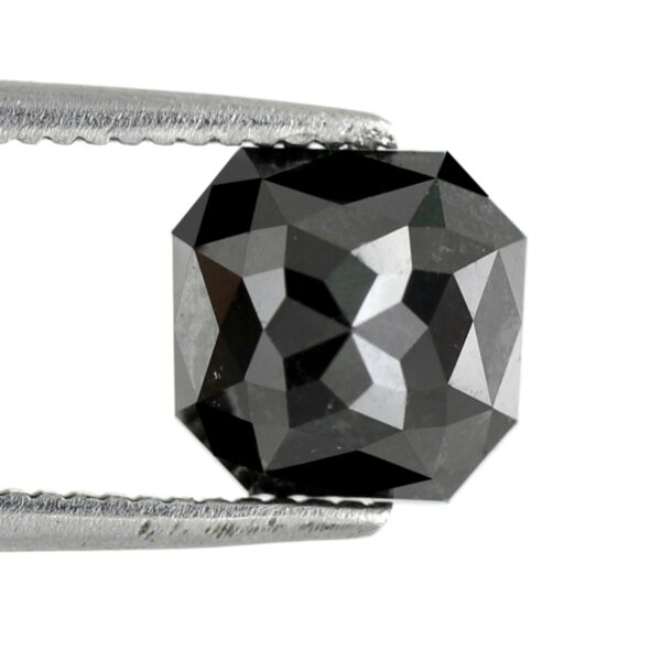 Asscher Shape Black Diamond Rose Cut