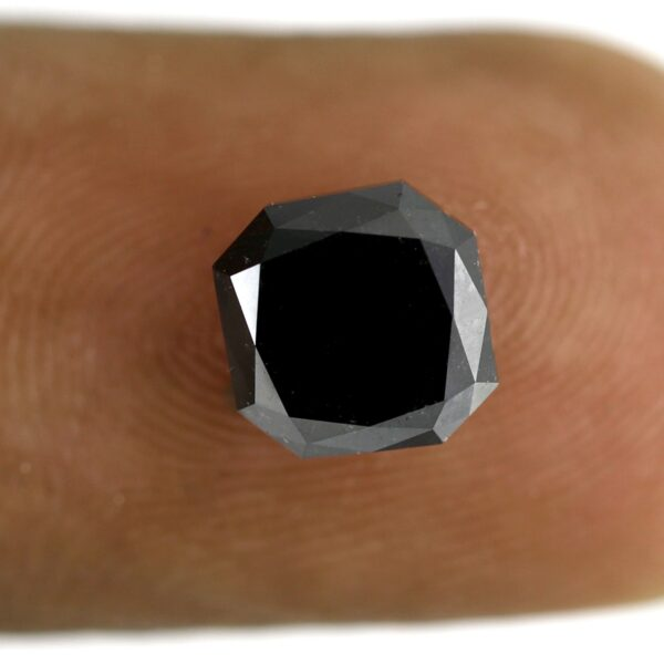 Asscher Shape Black Diamond On Finger