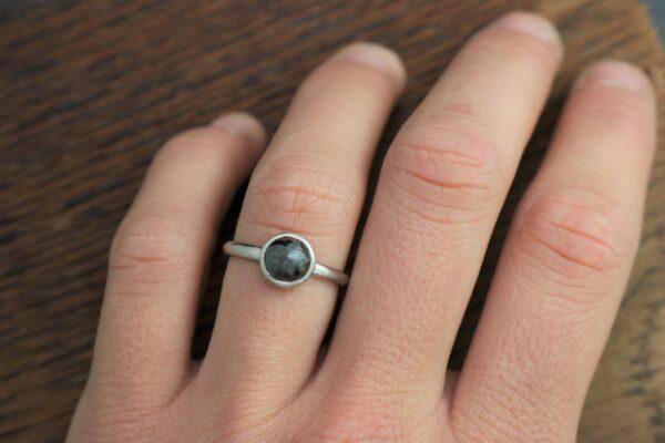 flower rose cut black diamond ring in white gold