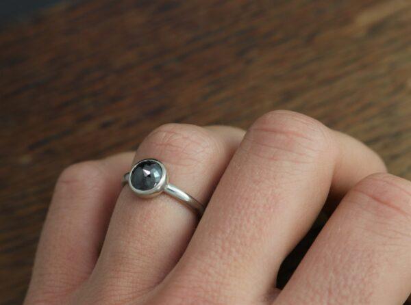 flower rose cut black diamond ring for her