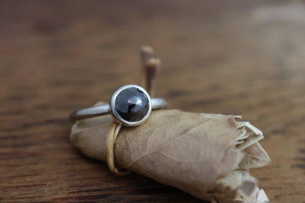 beautiful flower rose cut black diamond ring