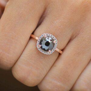 Black diamond cushion ring