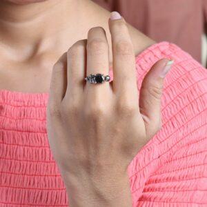 2.60 carat black diamond cluster ring