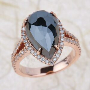 2.85 carat pear cut black diamond ring