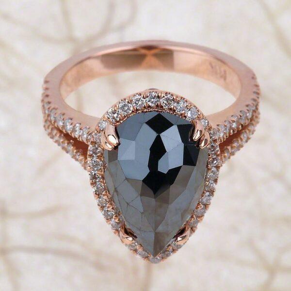 3 carat pear shape black diamond ring
